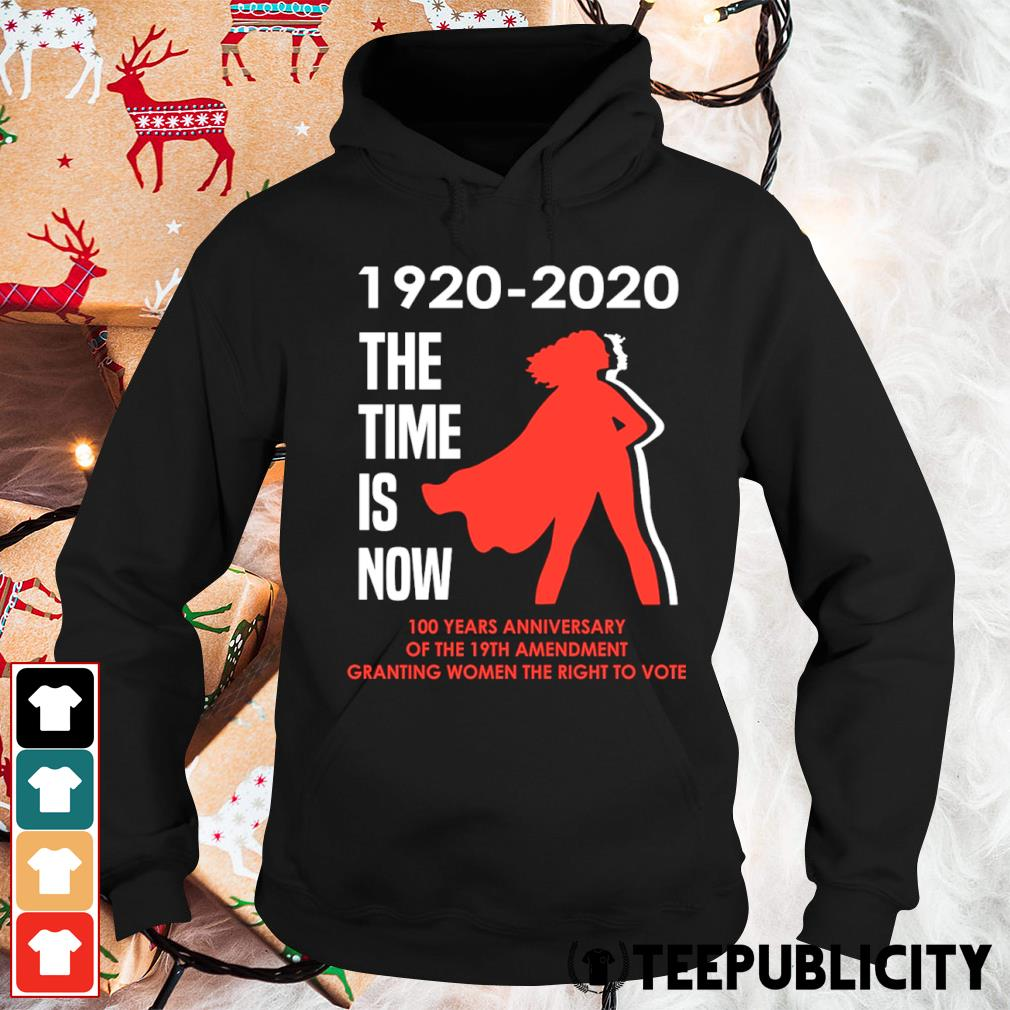 1920 2020 the time is now 100 years anniversary of the 19th amendment granting women the right to vote s hoodie