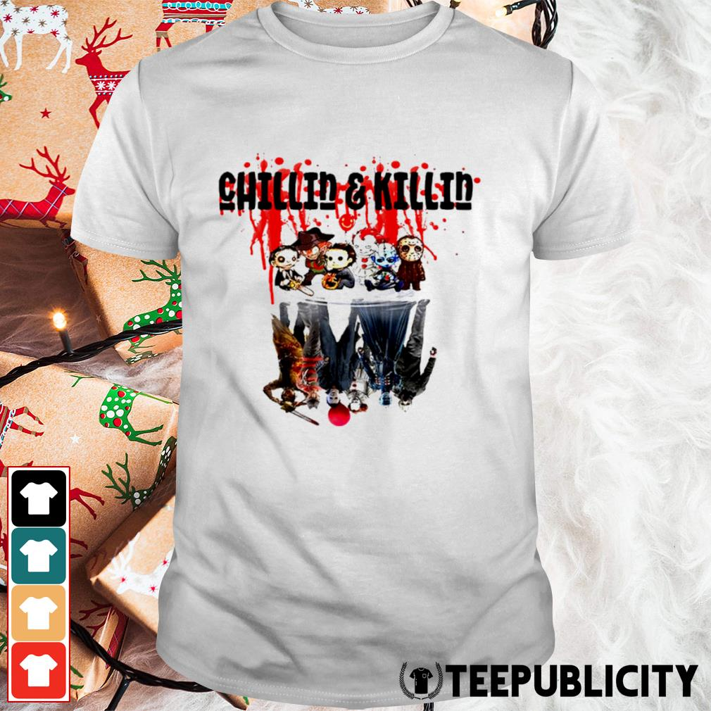 Halloween horror movies characters chibi chillin and killin water reflection mirror shirt