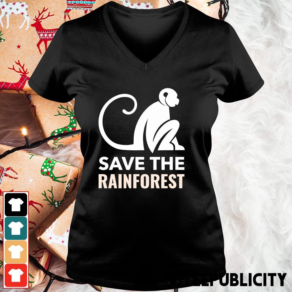 Monkey save the rainforest s v-neck-t-shirt