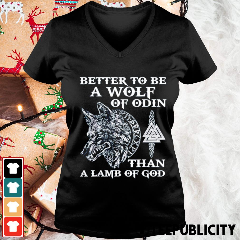 Better to be a wolf of Odin than a lamb of God s v-neck-t-shirt