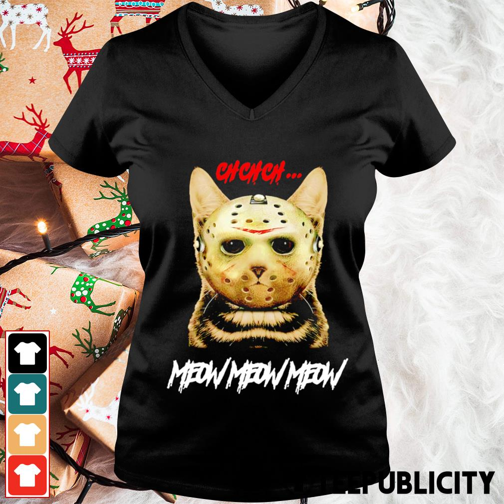Cat Jason Voorhees ch ch ch meow meow meow s v-neck-t-shirt