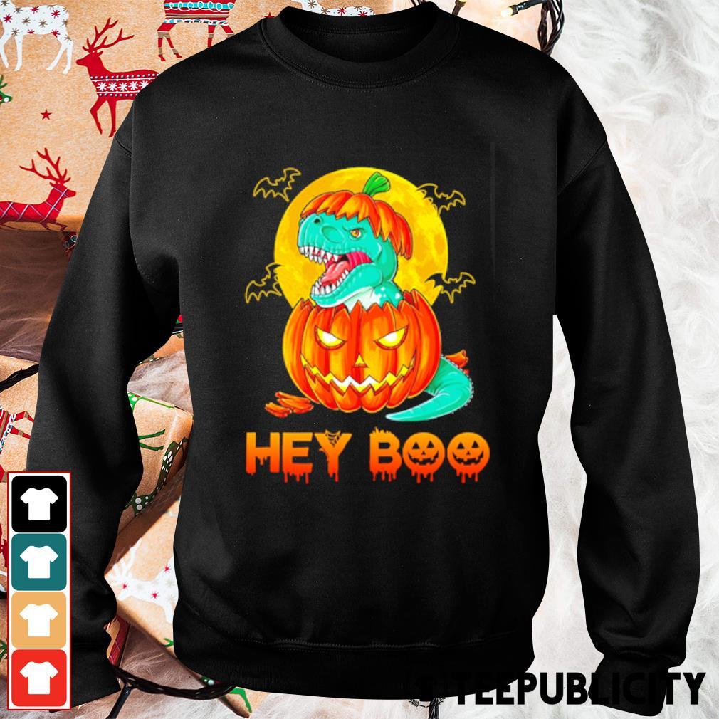 Dinosaur T-rex pumpkin hey boo Halloween s sweater