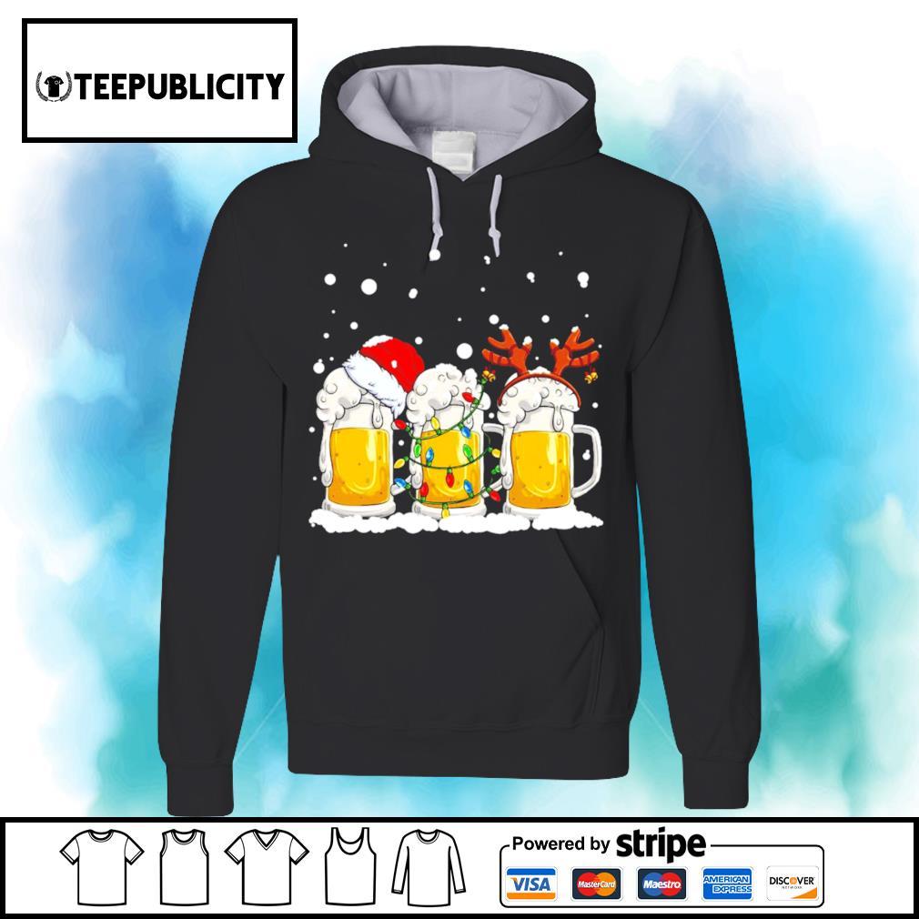 Beer Santa hat and Reindeer Christmas s hoodie
