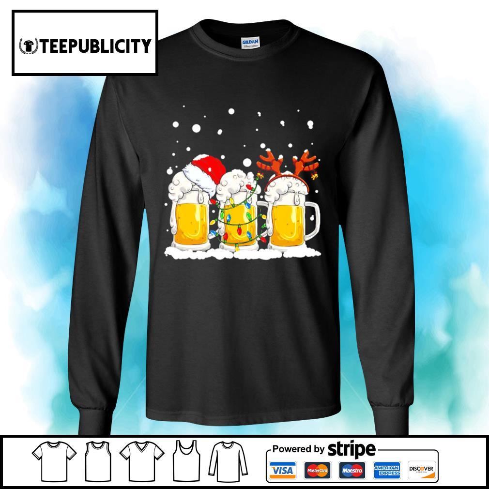 Beer Santa hat and Reindeer Christmas s longsleeve-tee