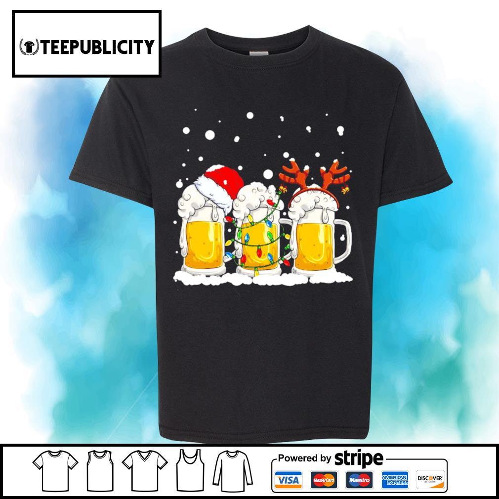 Beer Santa hat and Reindeer Christmas shirt