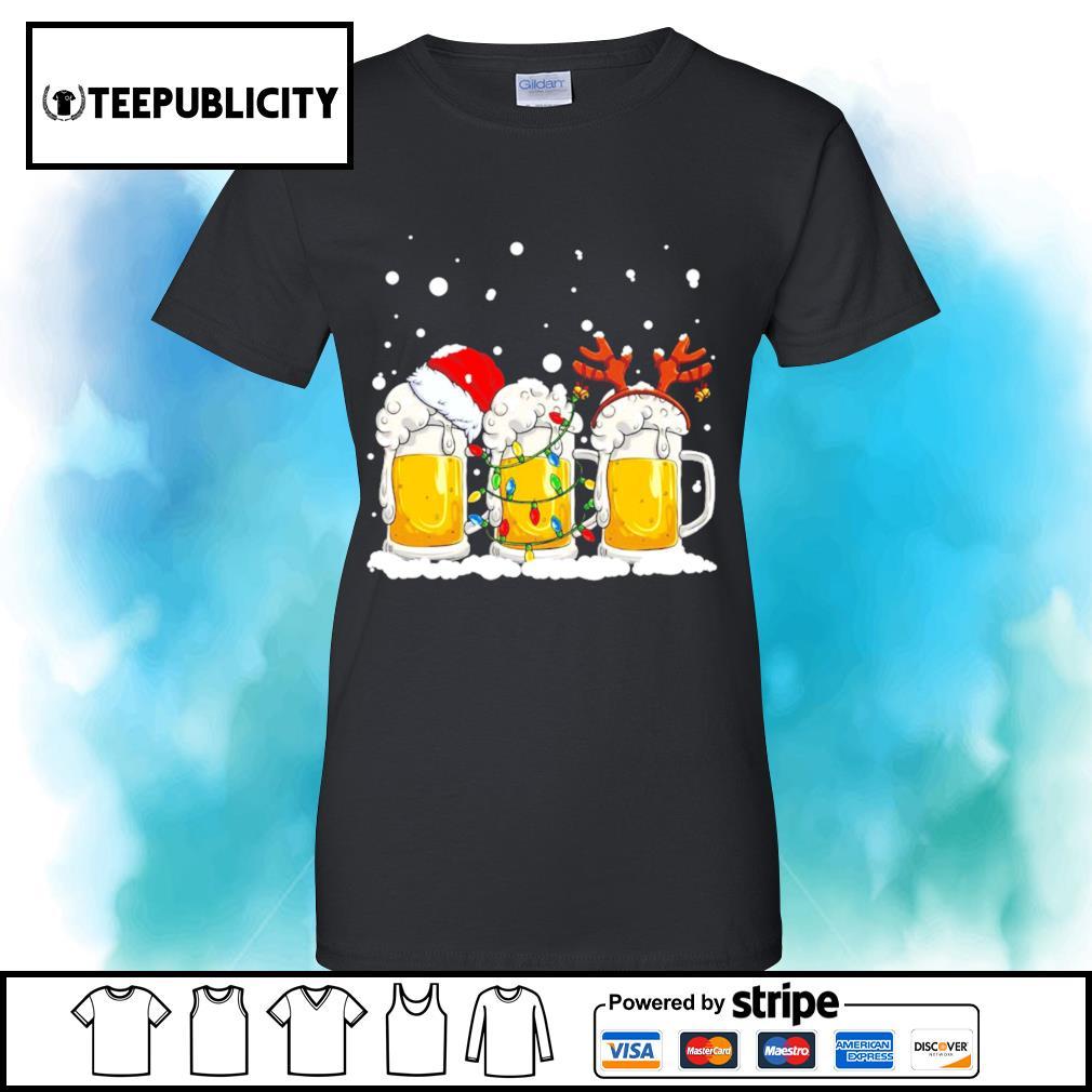Beer Santa hat and Reindeer Christmas s v-neck-t-shirt