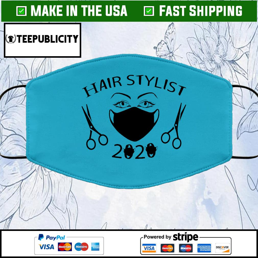 Hair Stylist 2020 Black Cloth Face Mask Washable blue