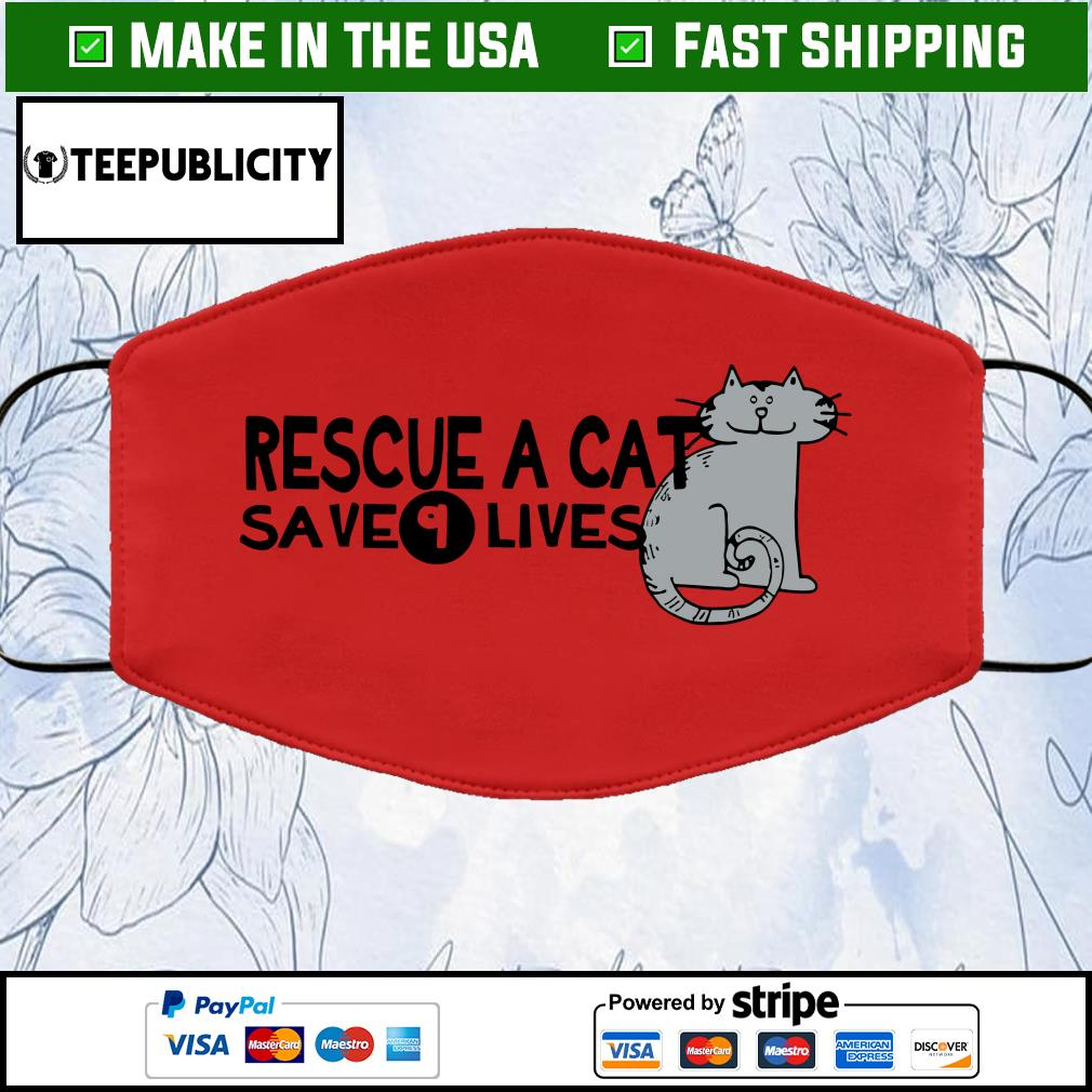 Rescue a cat save 9 lives face mask red