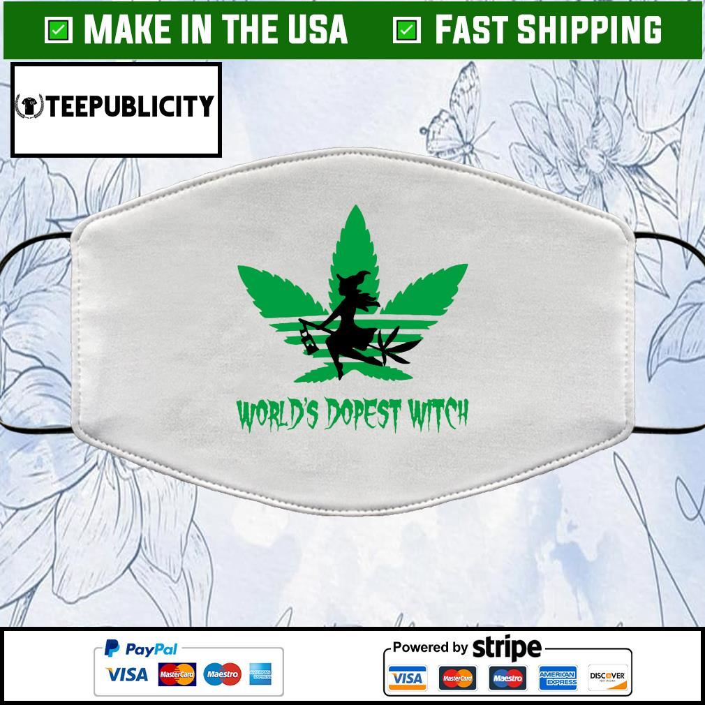 Weed world's dopest witch adidas Halloween Cloth Face Mask Washable