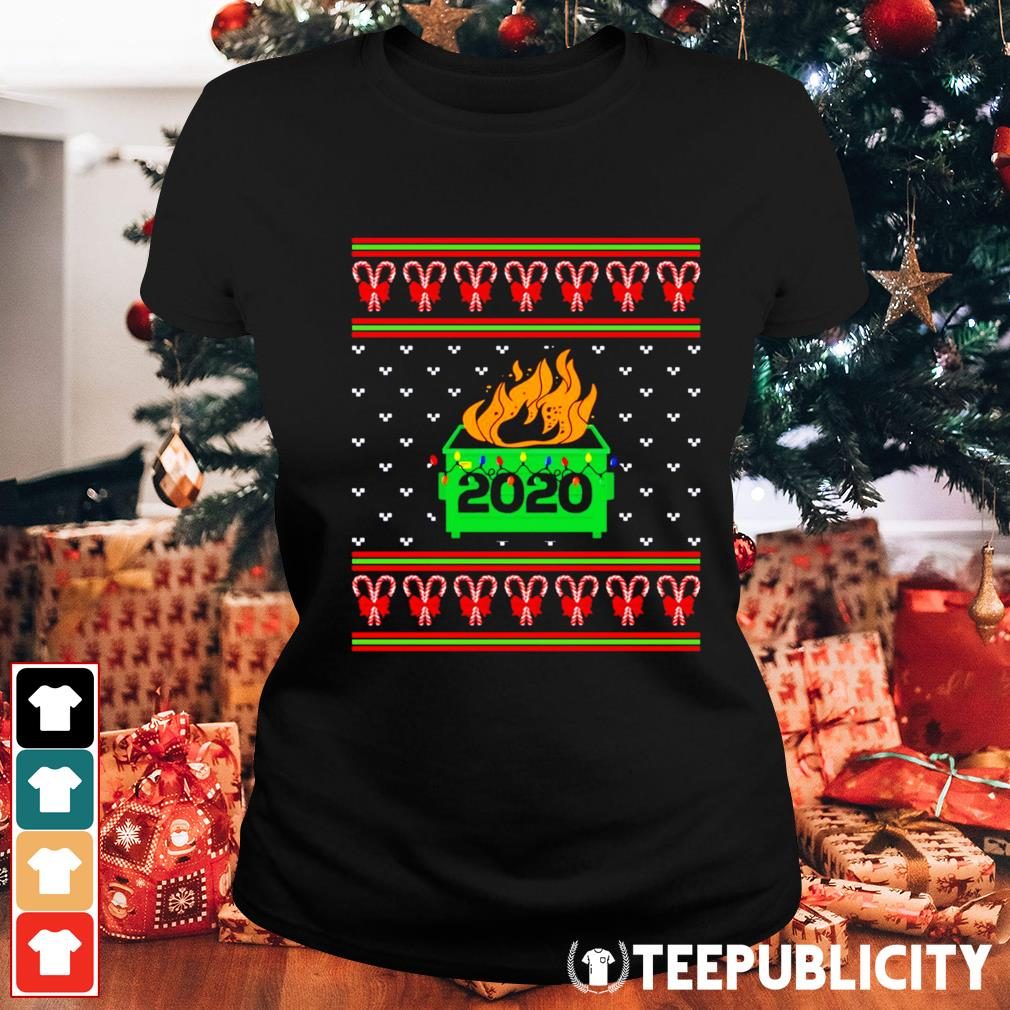 2020 Dumpster fire light ugly Christmas s ladies-tee
