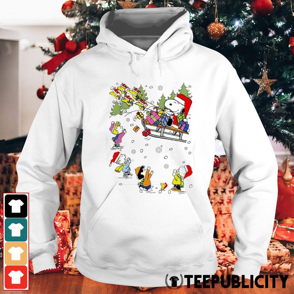 Santa Snoopy and Woodstock Reindeer and Peanuts characters Christmas s hoodie