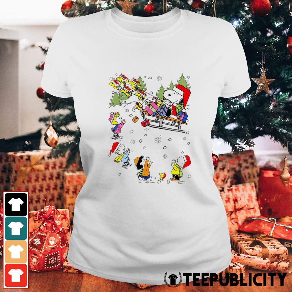 Santa Snoopy and Woodstock Reindeer and Peanuts characters Christmas s ladies-tee