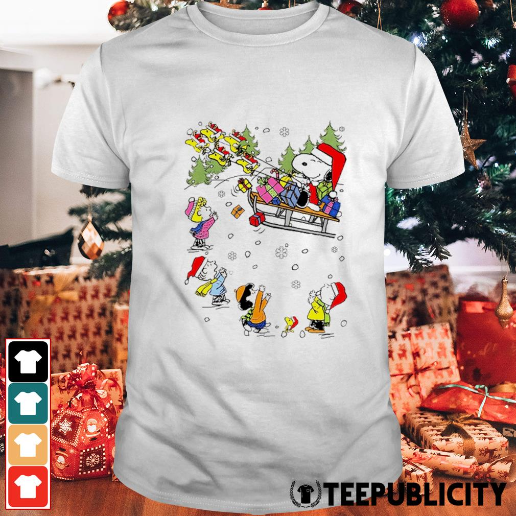 Santa Snoopy and Woodstock Reindeer and Peanuts characters Christmas shirt