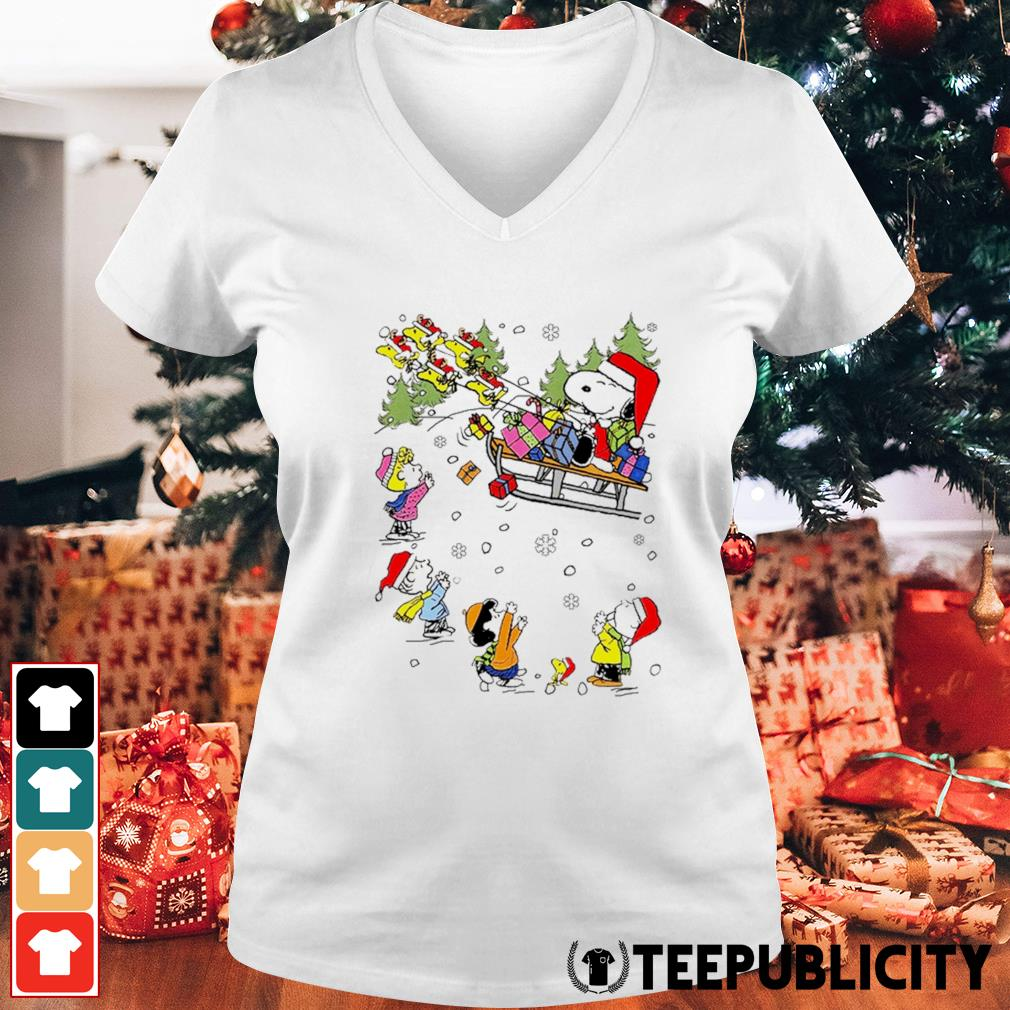 Santa Snoopy and Woodstock Reindeer and Peanuts characters Christmas s v-neck-t-shirt