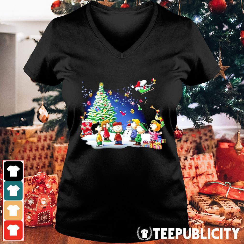 Snoopy Santa Claus Peanuts characters Christmas s v-neck-t-shirt