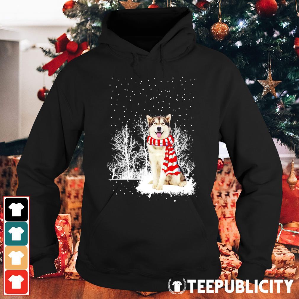 Snow Scarf Alaskan Malamute Merry Christmas s hoodie