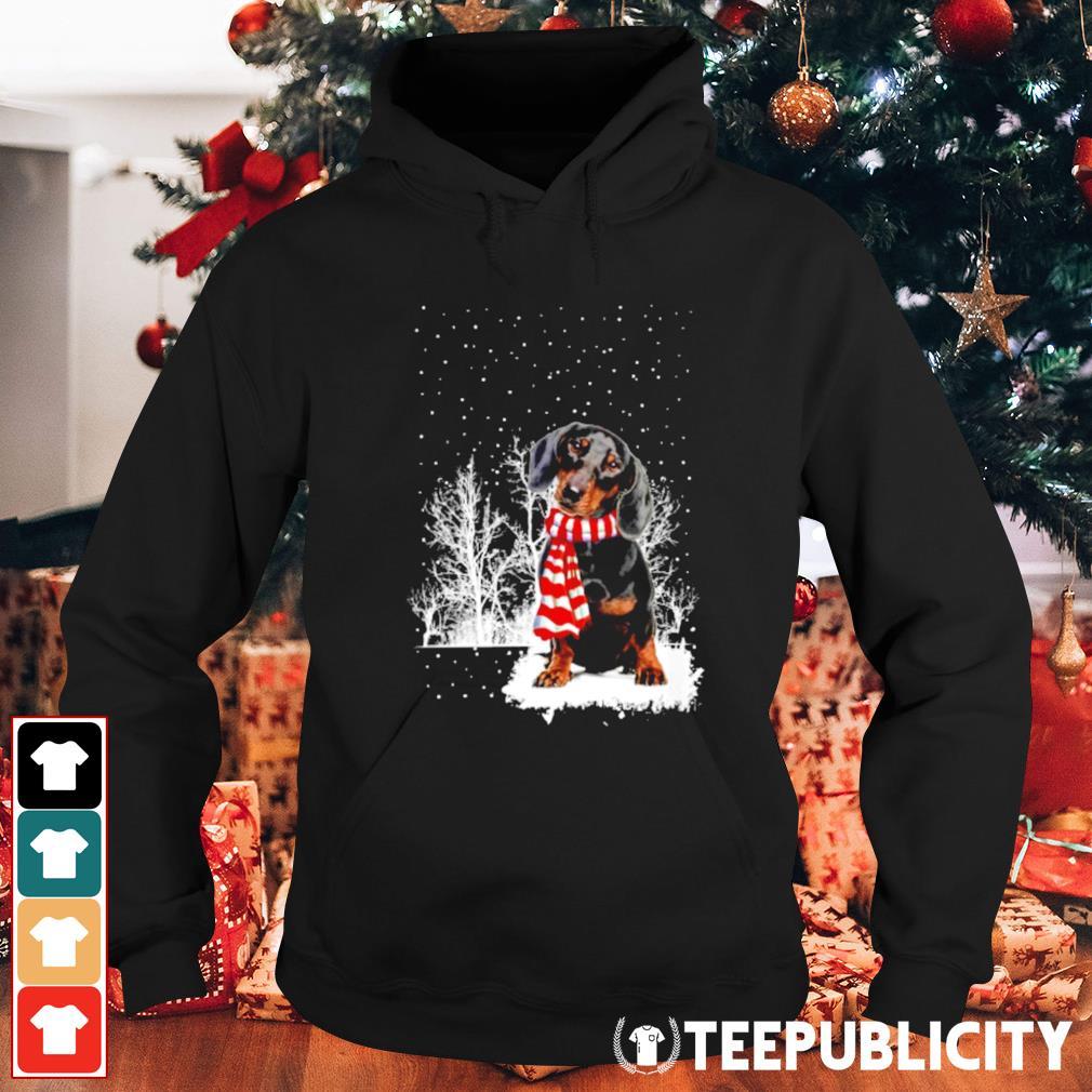 Snow Scarf Dachshund Merry Christmas s hoodie