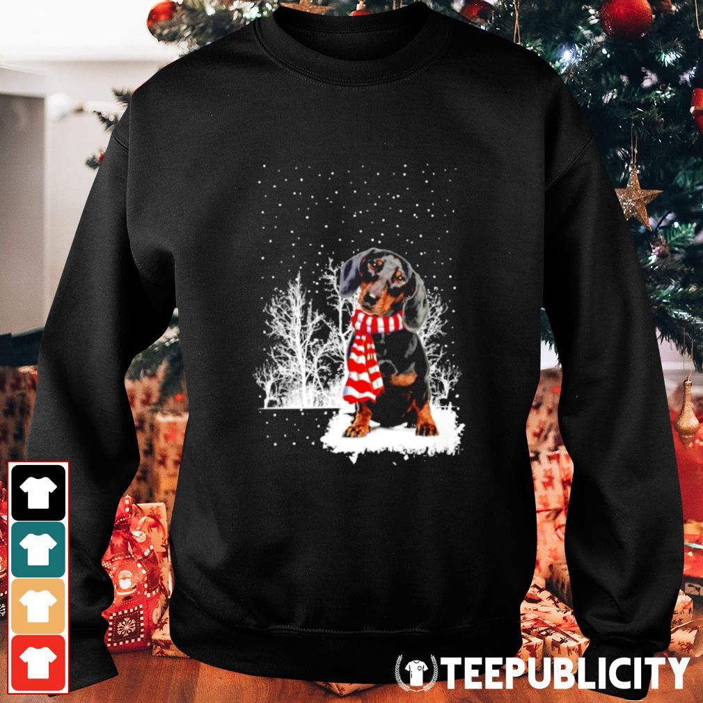 Snow Scarf Dachshund Merry Christmas s sweater