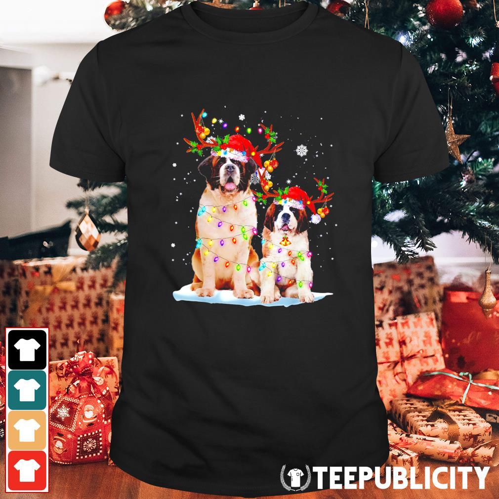 St Bernard Reindeer hat lights Christmas shirt