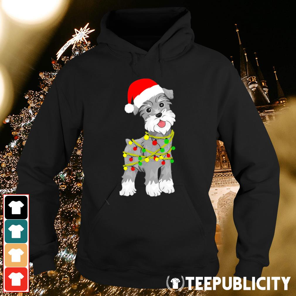 Schnauzers Santa hat Christmas Lights s hoodie
