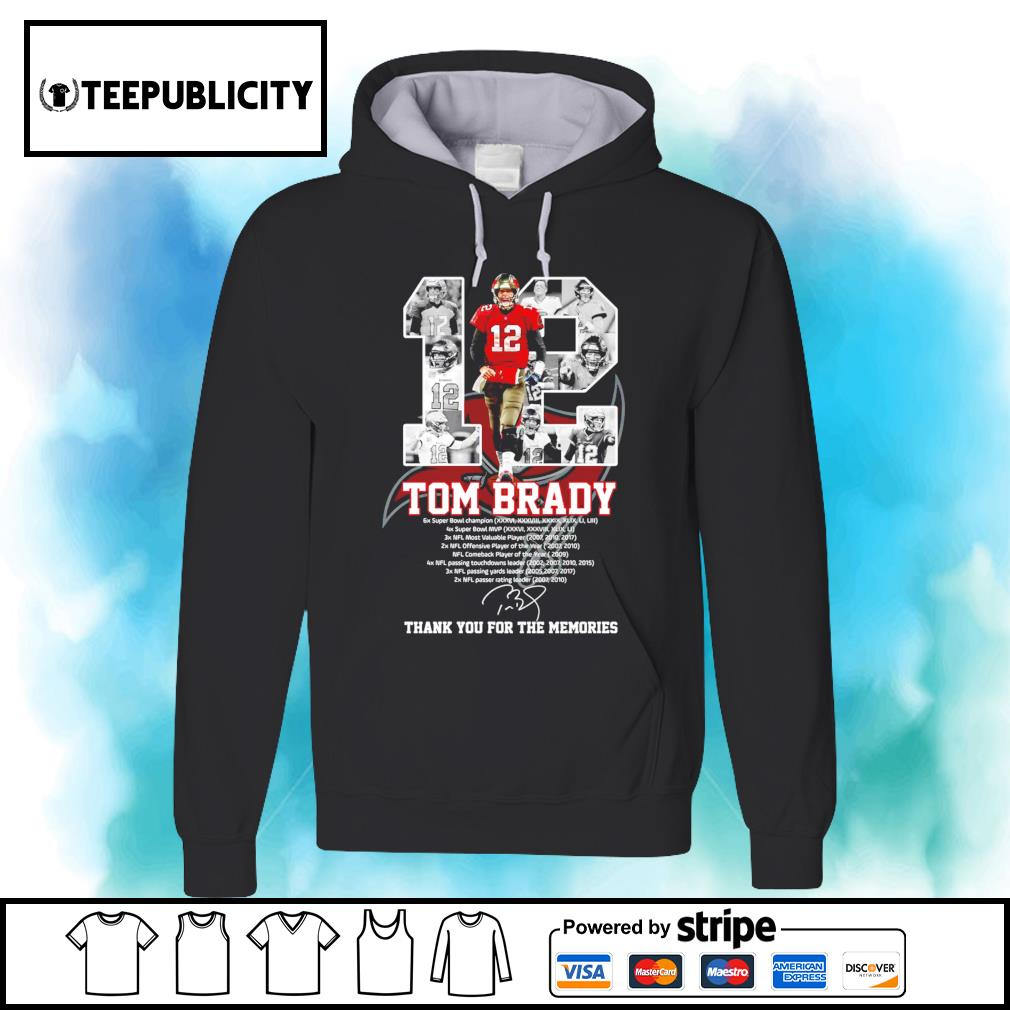 12 Tom Brady Tampa Bay Buccaneers thank you for the memories s hoodie
