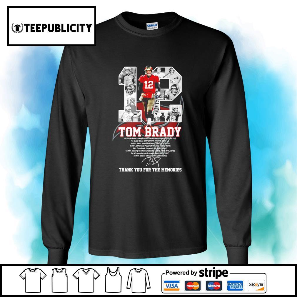 12 Tom Brady Tampa Bay Buccaneers thank you for the memories s longsleeve-tee
