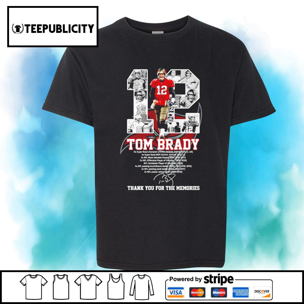 12 Tom Brady Tampa Bay Buccaneers thank you for the memories shirt