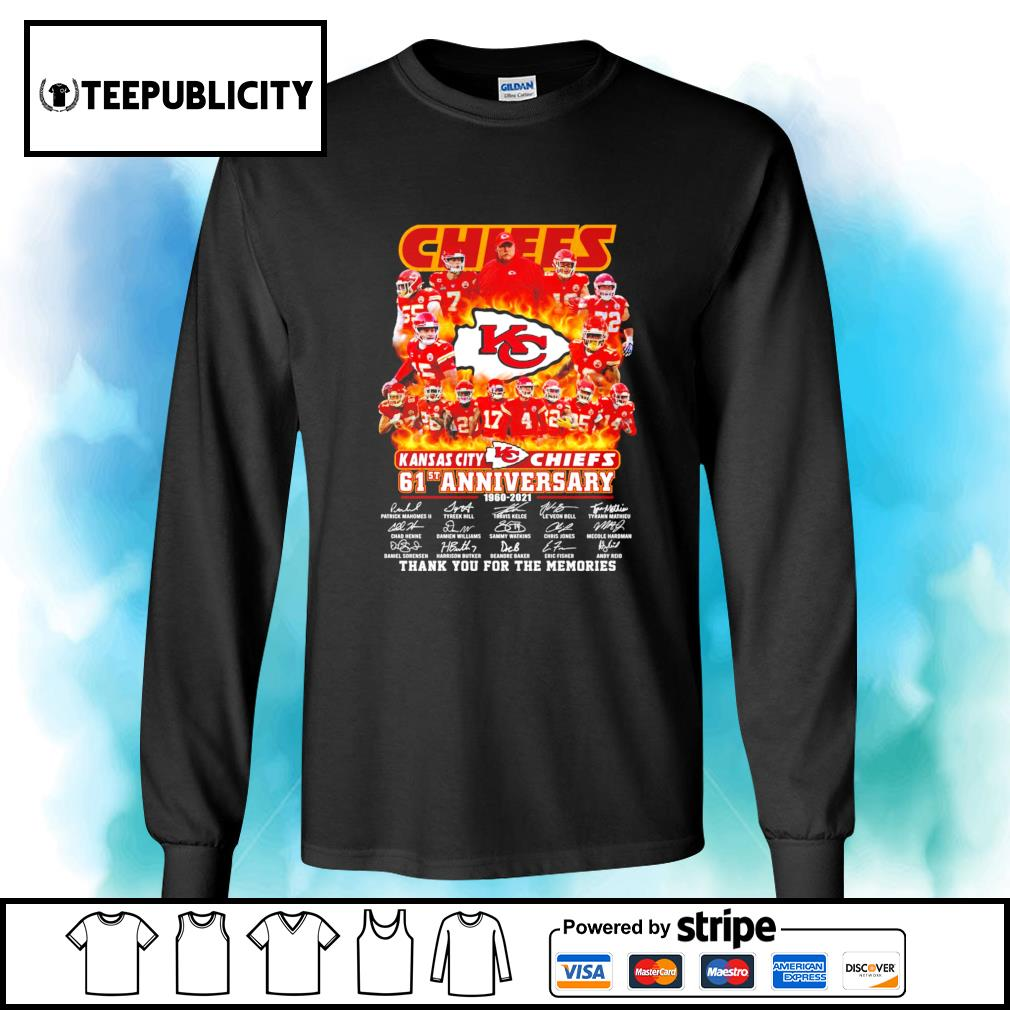 Kansas City Chiefs 61st anniversary 1960 2021 thank you for the memories s longsleeve-tee