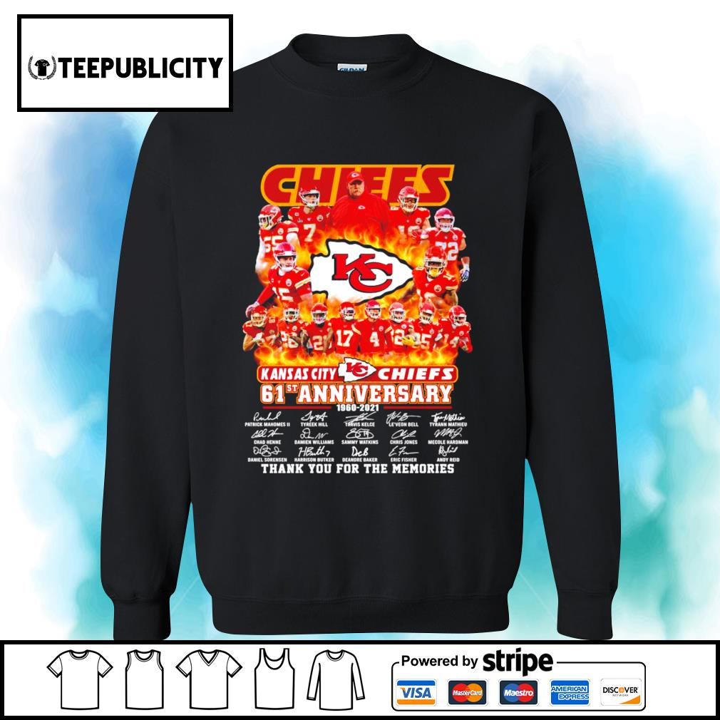 Kansas City Chiefs 61st anniversary 1960 2021 thank you for the memories s sweater