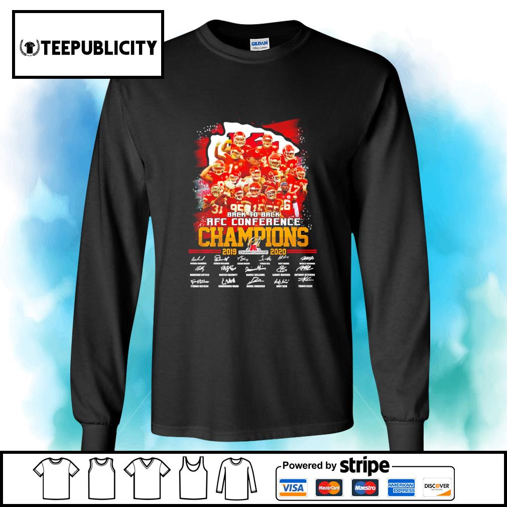 Kansas City Chiefs back to back AFC Conference Champions 2019 2020 signatures s longsleeve-tee