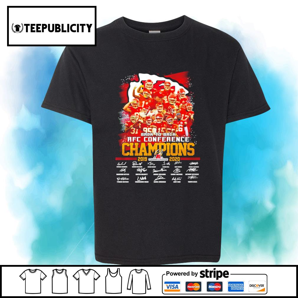 Kansas City Chiefs back to back AFC Conference Champions 2019 2020 signatures shirt