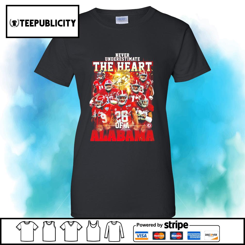 Never underestimate the heart of a Alabama Crimson Tide signatures 52 24 Ohio State s v-neck-t-shirt
