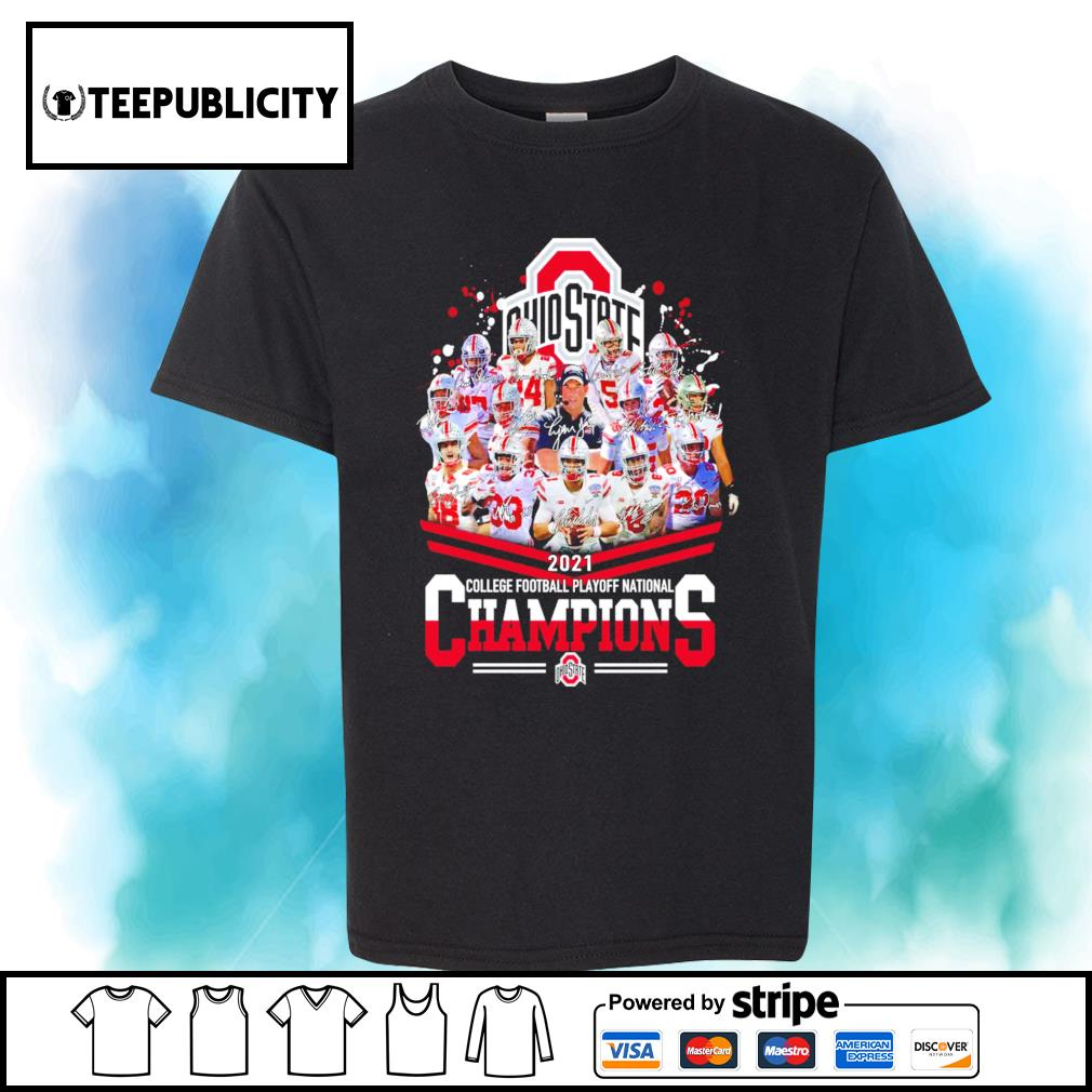 Ohio State Buckeyes 2021 college football playoff National Champions signatures shirt