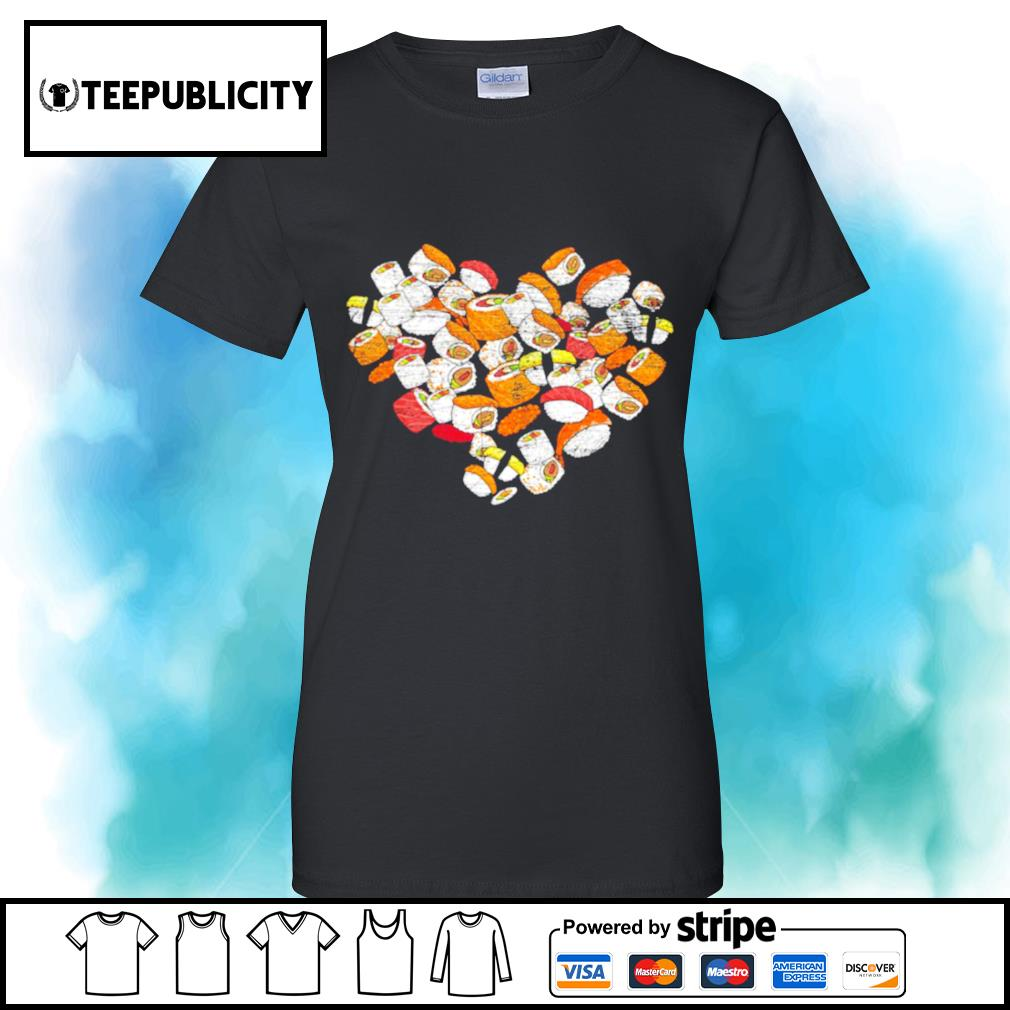 Anime Nigiri Sashimi heart love sushi Valentine's Day s v-neck-t-shirt